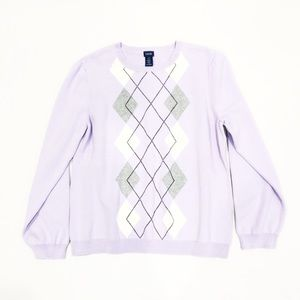 IZOD Lilac Purple Argyle Sweater